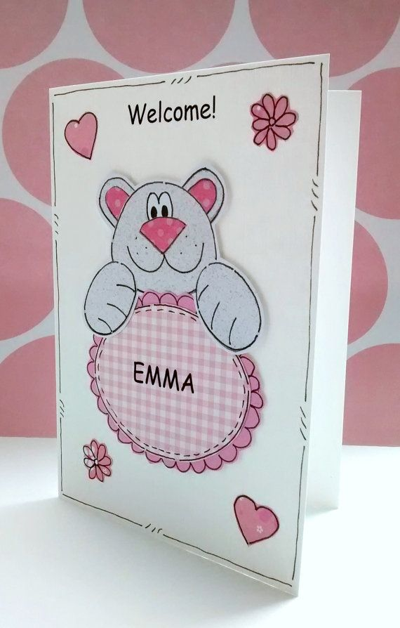 Welcome Baby Girl Card  Pink Bear  by CraftyMushroomCards on Etsy, £2.50