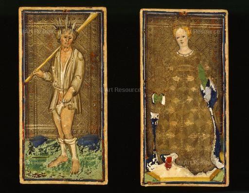 , Cicognara, Antonio (15th CE), Fool, Gothic (1150-1500), M.630/PML, Tarot Cards, Visconti-Sforza tarot cards, Woman