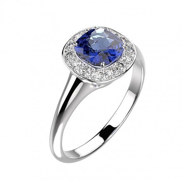 Gemmyo : Bague Mada - Or blanc 18 cts, Saphir et Diamants