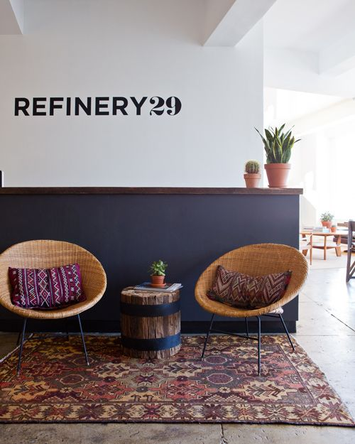 "Refinery 29 waiting area, on Designsponge.com ""The site's co-founder, Philippe von Borries, explained that they worked with designer Chad McPhail to create a space that ""balances clean-lined minimal elements with more rustic industrial materials to create a neutral canvas"" to be filled with color and pattern."""