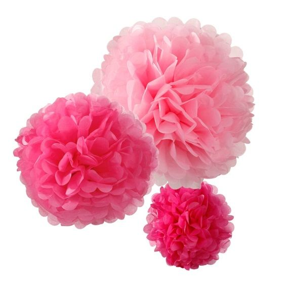 Hippenings tissue Pom Poms hanging wedding decorations - pink