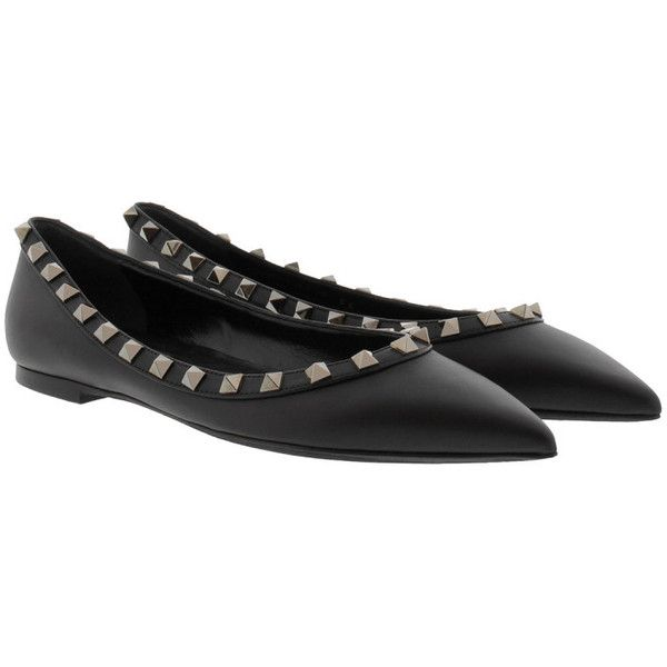 Valentino Ballerinas - Rockstud Ballerina All Black - in black -... ($640) ❤ liked on Polyvore featuring shoes, flats, black, pointed-toe flats, pointed flat shoes, ballet flat shoes, black slip-on shoes and flat shoes