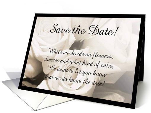 "Using poetry and rhymes is a fun and creative way to announce your date. Create a short little verse like: ""they'll hold in their purse until it comes time ..."