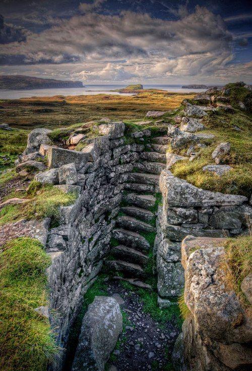 Dunbeag broch Iron Age settlement, looking toward Isle Ornsay, Isle of Skye.