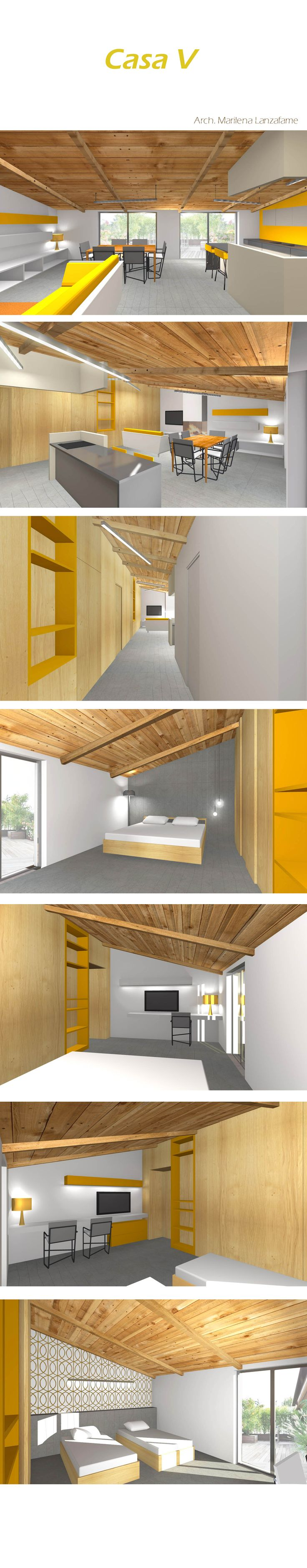 Original design of Attic in Sicily. The main colour is yellow as the sunlight. A long wood volume extend down the flat, devides the living room from the bed rooms. By Arch. Marilena Lanzafame  #architecture #interiordesign #yellow #wood #sicily #design