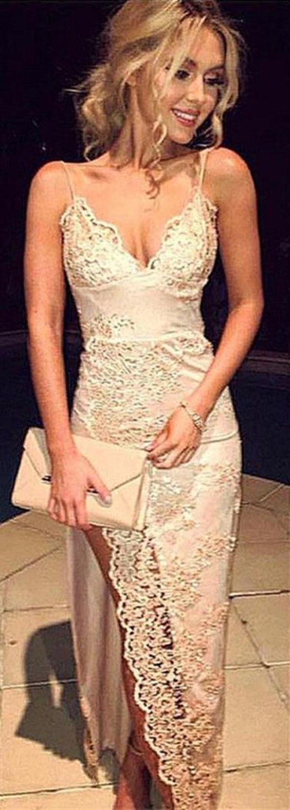 Spaghetti Straps Split Prom Dress, Long Pearl Pink