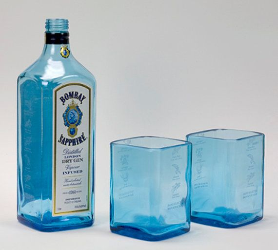 Set of Two 2 Recycled Bombay Sapphire Gin Liquor Bottles by BottleshockGlassware, Cool Eco Friendly Gift