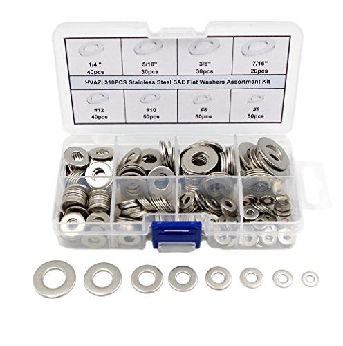 HVAZI Stainless Steel Flat Washers Assortment Kit #6 to 7/16  HVAZI ANSIB18.22.1(SAE) Stainless Steel Flat Washers total 310pieces  This set includes eight most used sizes:#6 #8 #10 #12 1/4 5/16 3/8 7/16.  All products are made of 18-8 Stainless Steel;100% new.  18-8 stainless steel washers have good chemical resistance and may be mildly magnetic  Easy to install and durable to use.