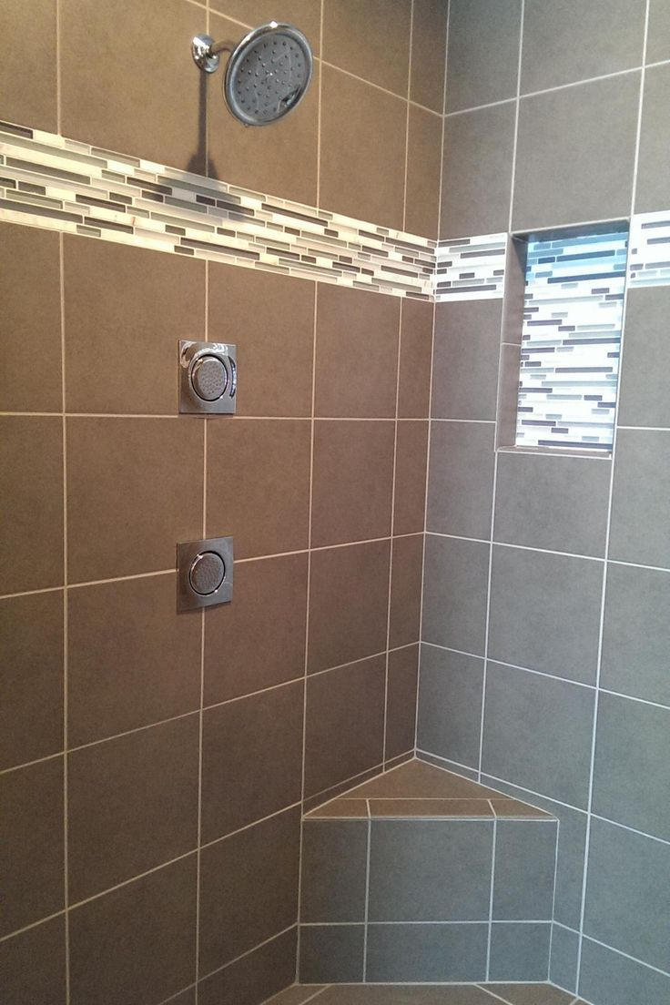 Contemporary Taupe Tile Shower With Horizontal Mosaic