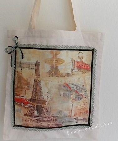 Υφασμάτινη τσάντα  με τεχνική μεταφορά εικόνας http://www.francescasart.gr/eshop/diaphora/2106.html