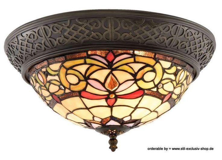 Helle Klassische TIFFANY Decken Lampe WYOMING 38