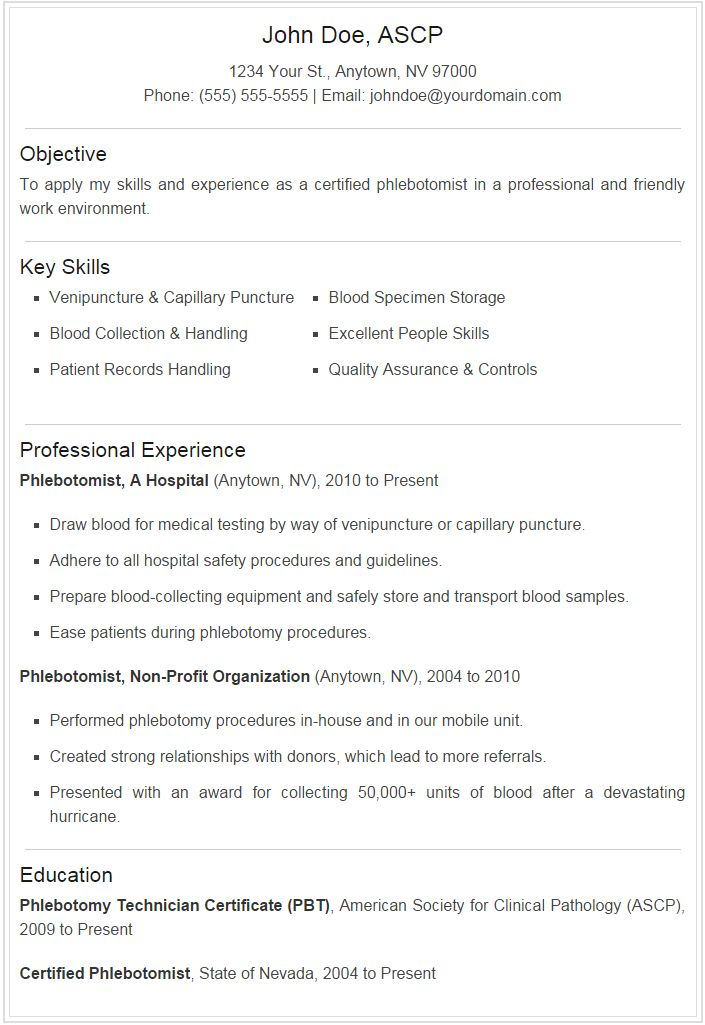 phlebotomist resume sample plus downloadable template