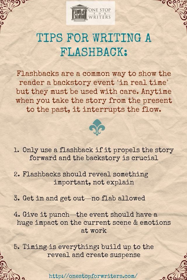 tips for writing a flashback  onestopforwriters