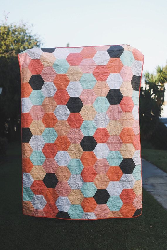Custom Hexagon Quilt by radandhappy on Etsy