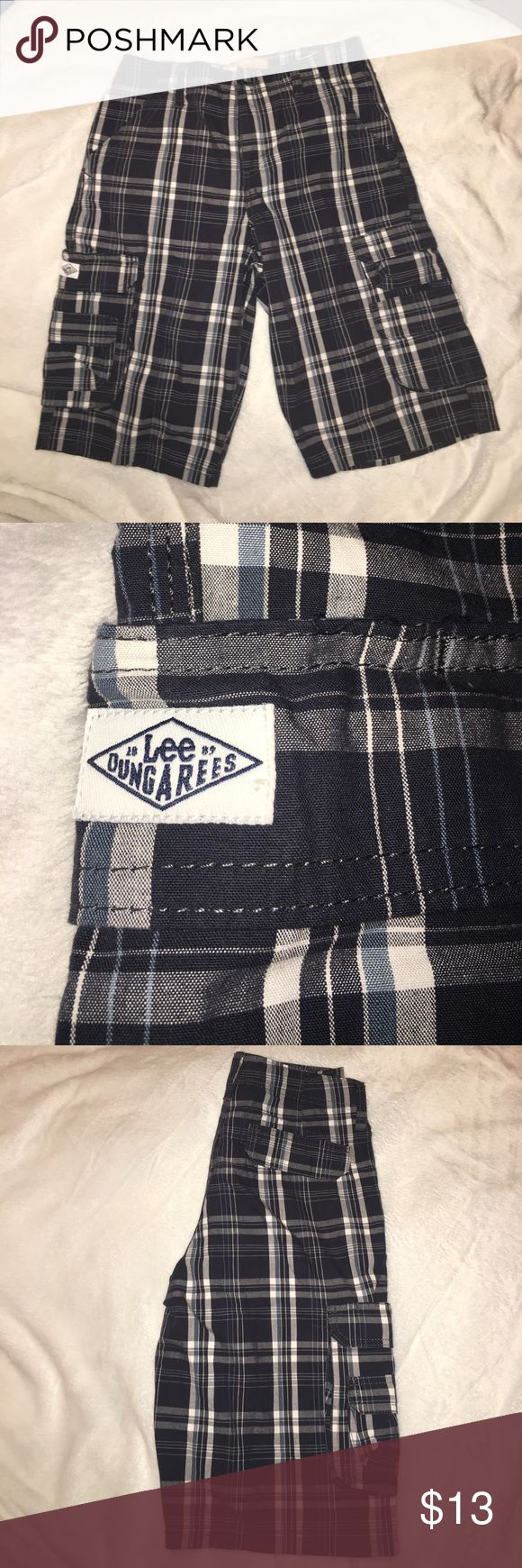 14R Lee Dungarees, Plaid youth shorts. Never worn. Perfect condition. Navy, white, light blue and white plaid pattern. Cargo pockets. Bundle and save! Lee Dungarees Bottoms