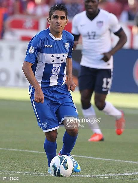 Jorge Claros of Honduras brings the ball down field during a game against the United States during the first half of an World Cup Qualifying March...