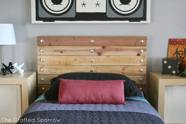 DIY Carriage Bolt Headboard : would like this with dark/black wood