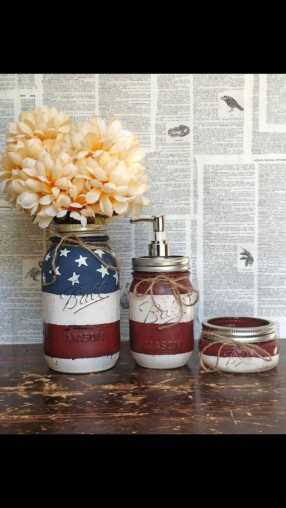 Check out this item in my Etsy shop https://www.etsy.com/listing/245848935/american-flag-mason-jar-bathroom-set