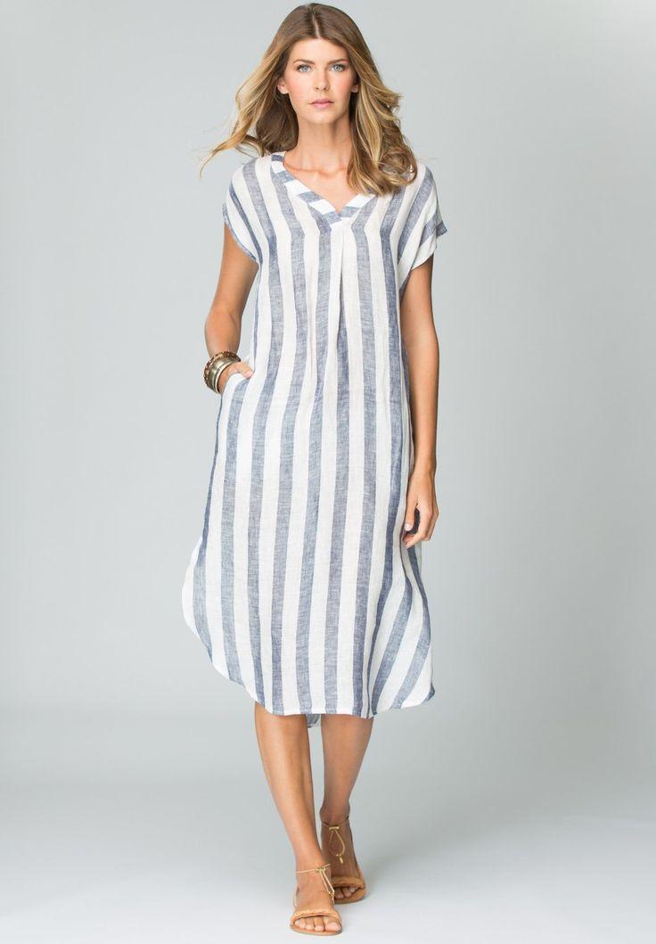Hammock & Vine - Stripe Linen V-Neck Dress With Slip In Blue And White