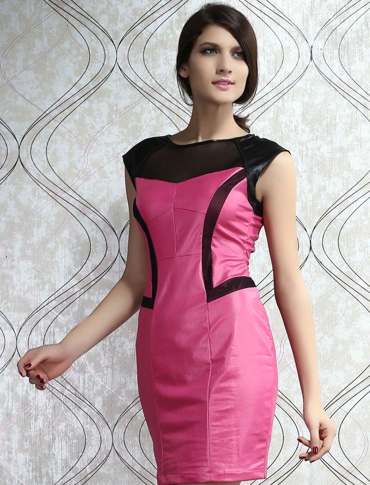 Megenta Black Mesh Accent Faux Leather Dress