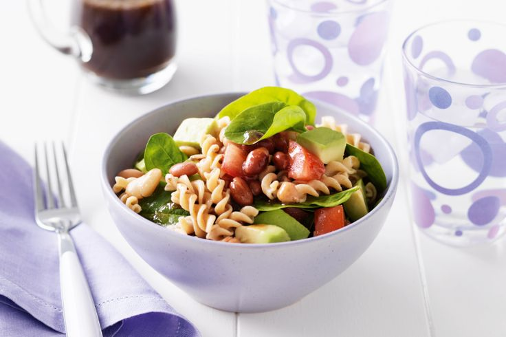 Enjoy the beneficial fats of avocados and goodness of wholemeal pasta in this healthy side salad recipe.