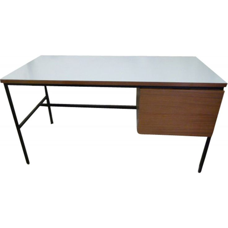 Vintage 620 Desk In Wood Metal And Formica By Pierre Guariche From The Consists Of A White Tray One Box Black Lacquered Frame