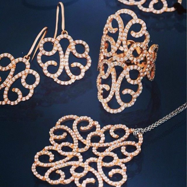 Gorgeous Ensorcelee rose gold plated filigree jewellery collection by APM Monaco and available #fromthomas in store or online www.thomasjewellers.com.au #thomasjewellers