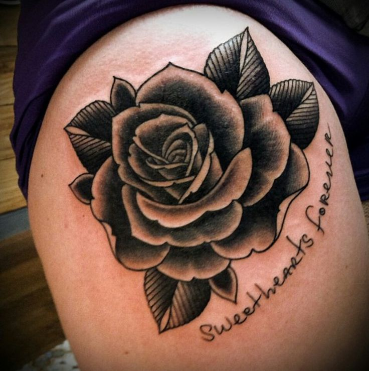 Love this traditional rose beautiful lines and shading for Traditional black and grey tattoo