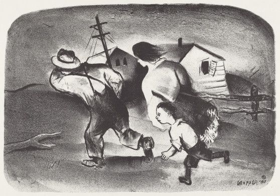 William Gropper (artist)  American, 1897 - 1977  American Artists Group, Inc. (publisher)  Refugees, 1937 lithograph Reba and Dave Williams Collection, Gift of Reba and Dave Williams  2008.115.5266