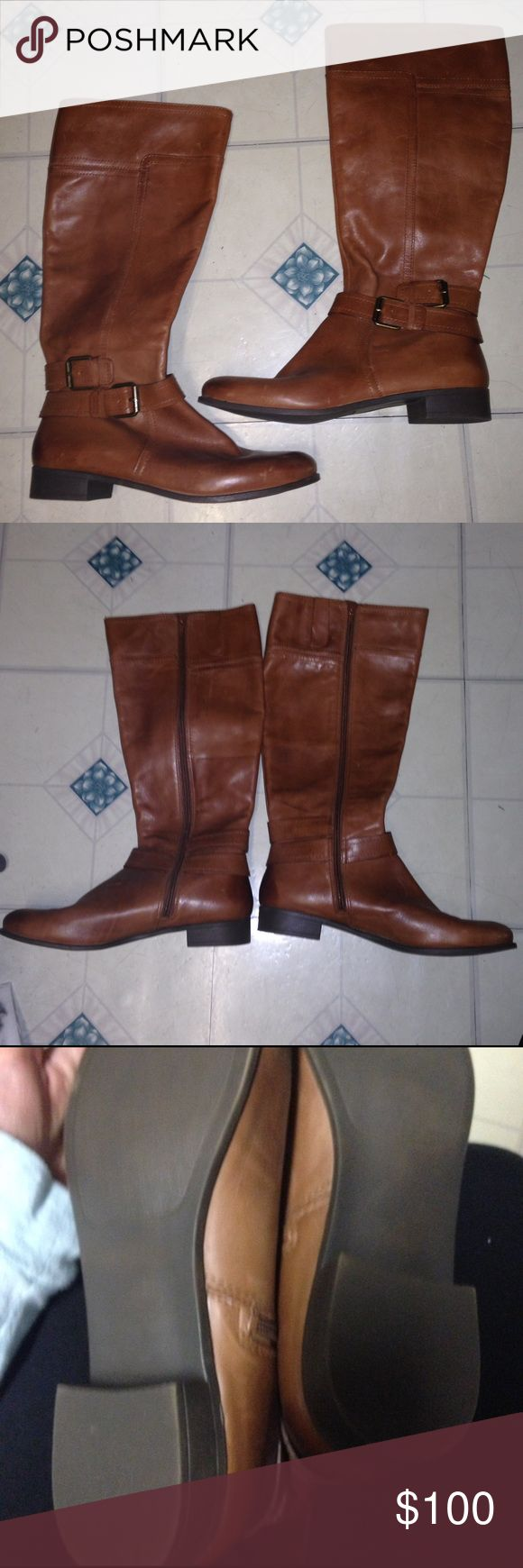 Nine West brown riding boots never worn size 10 Leather upper. Brown riding boots from the vintage America collection. Never worn. There are some light scratches on these boots (see last photo for an idea). Otherwise great condition. Nine West Shoes Combat & Moto Boots