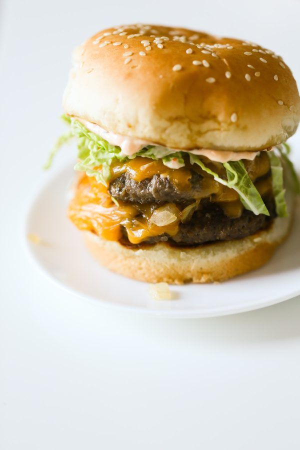 Homemade In N Out Burger Recipe! Here's a lighter and lower calorie take on In N Out's famous double double burgers, including their delicious secret sauce!
