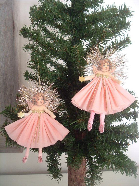 Petite Victorian Angels Spun Cotton  Pink set by ornamentsbypink, $42.00