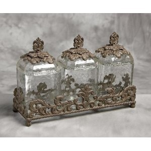 Glass Canister Set W/Brown Metal Base   GG Collection