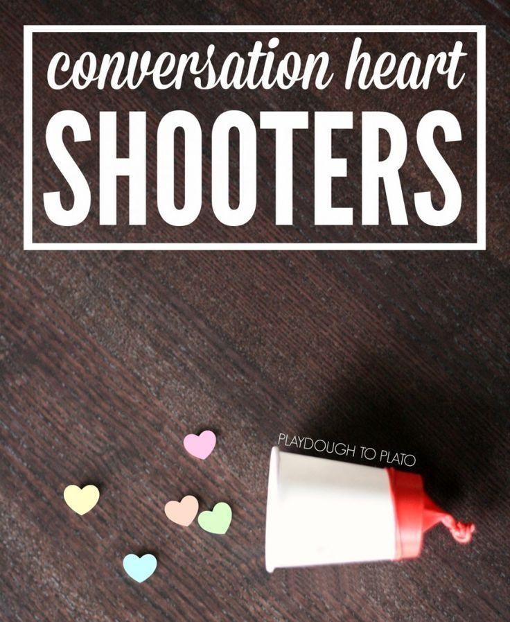Super fun Valentine's Day craft. Make conversation heart shooters for kids.