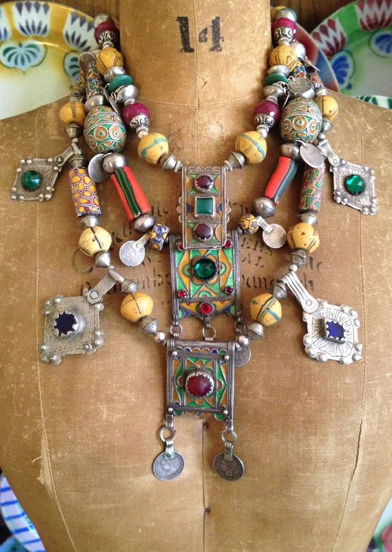 by Victoria Rivers | Collection of necklaces made using antique Berber pendants, silver beads and antique glass trade beads.