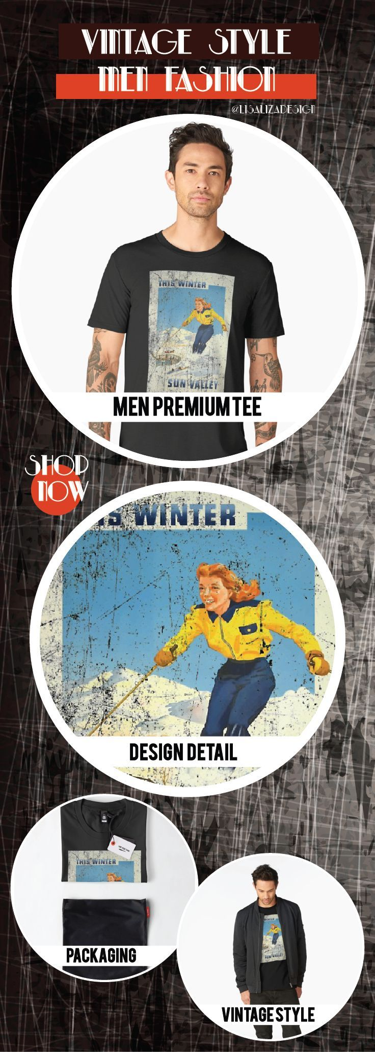 Men�s Premium T-Shirt  Vintage Travel Poster, Aged and Weathered - Sun Valley Idaho   Design inspired by vintage travel and advertisements posters from the late 19th century.  (Also available in mugs, shirts, duvet covers, acrylic , phone cases,   kid fas