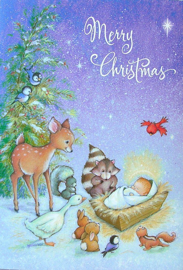 Animal nativity scene baby jesus deer raccoon bunny bird for Christmas pictures of baby animals
