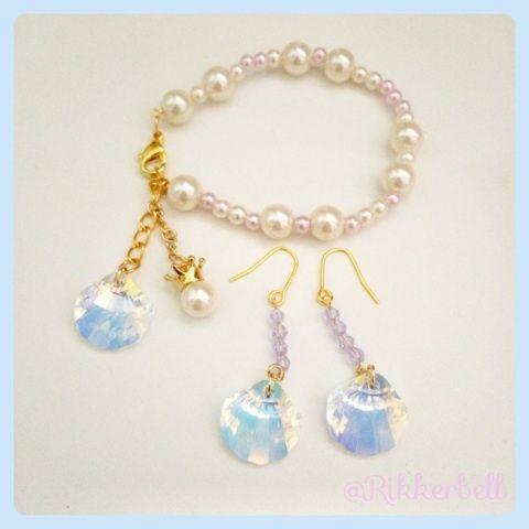 ♡Shell bracelet&pierced earrings