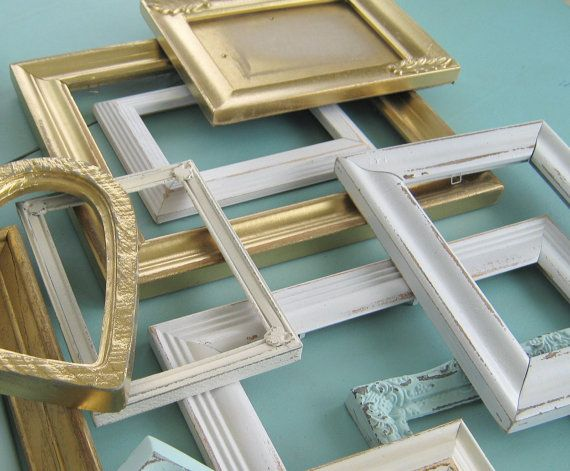 Mint Antique Gold and Cream Picture Frame Set/ by theDezignShoppe