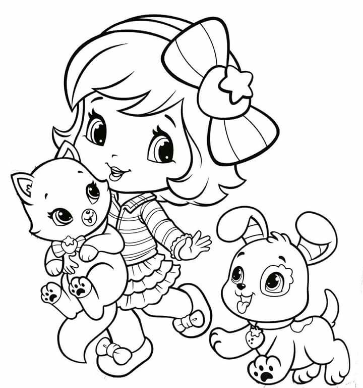 Baby strawberry shortcake with baby pupcake and custard for Strawberry shortcake birthday coloring pages