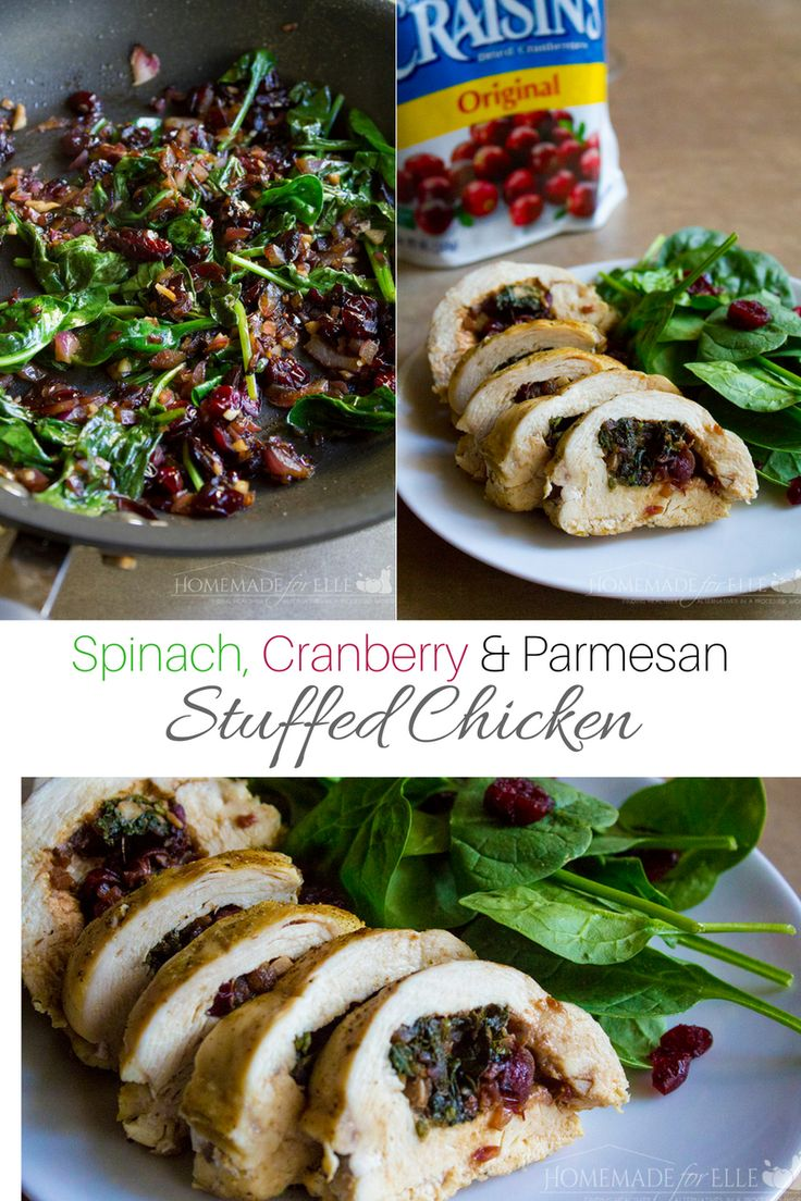 Spinach and Cranberry Stuffed Chicken | homemadeforelle.com #BetterWithCraisins #ad