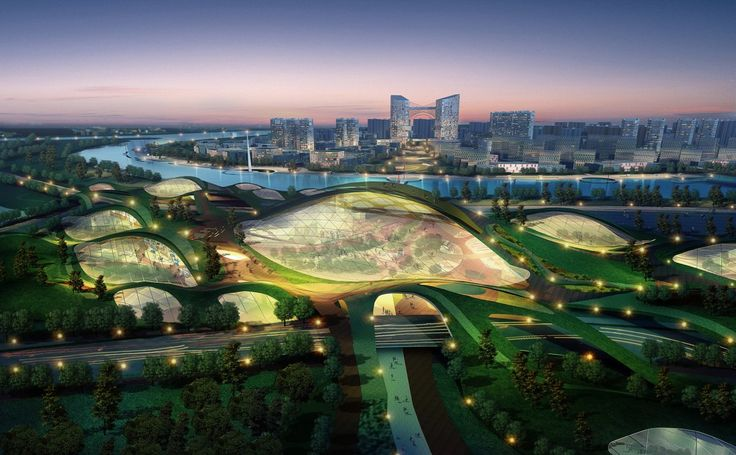 Tianjin Eco-City. Futuristic Architecture