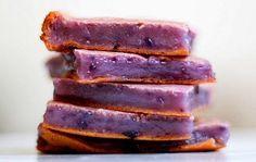 Okinawan Sweet Potato Mochi- SUB milk for almond milk- Mochiko flour = sweet white rice flour