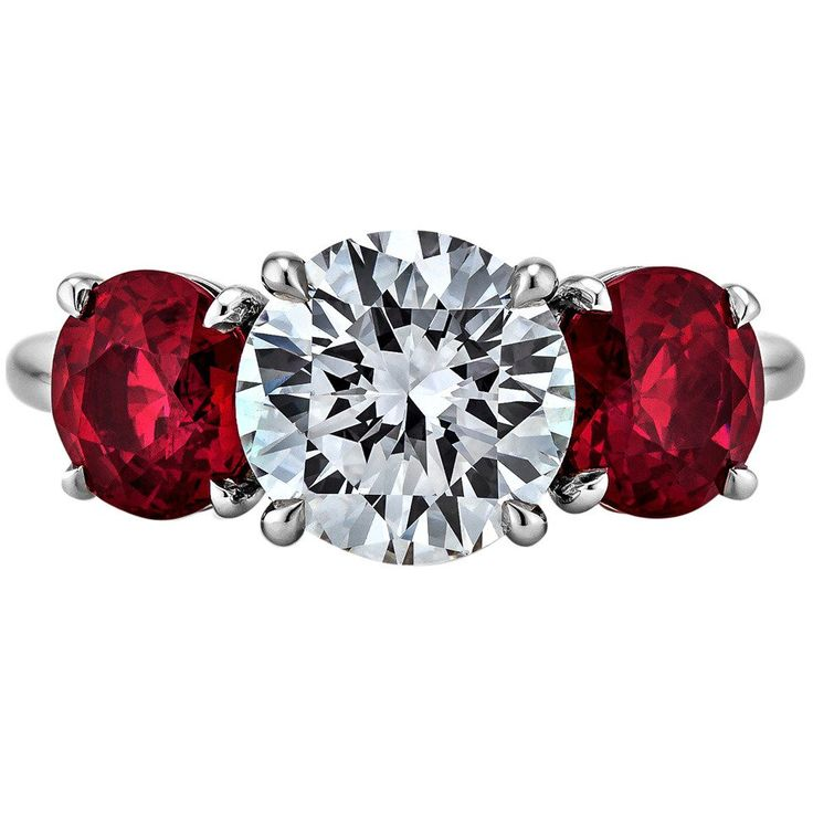 Burmese Ruby Diamond Platinum Three Stone Ring   From a unique collection of vintage three-stone-rings at https://www.1stdibs.com/jewelry/rings/three-stone-rings/