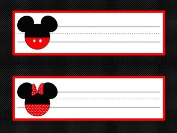 Disney Mickey Mouse and Minnie Mouse Desk Name Cards