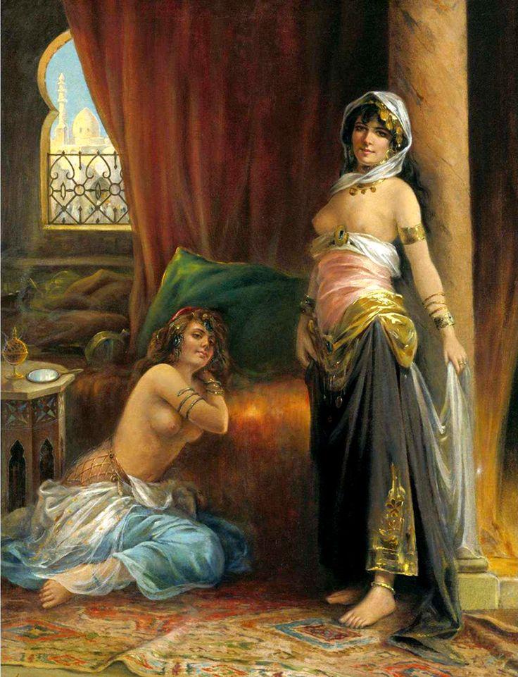 Henri Adrien Tanoux (1865-1923) - Harem Beauty. Oil on Canvas. Circa 1890-1900. 106.6cm x 80.6cm.