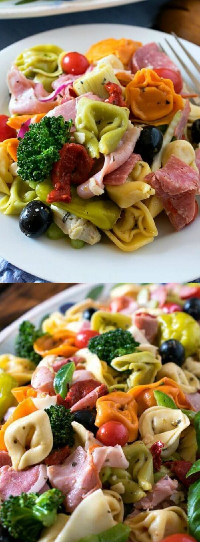Italian Tortellini Salad - a salad packed full of veggies, capicola, salami, and provolone cheese.