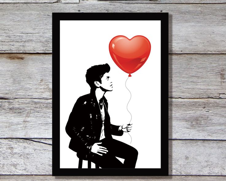 Bruno Mars - Poster, Bruno Mars is handing red balloon, heart balloon, Bruno Mars art, Bruno Mars print, Bruno, Digital Files by InspiredLifeArt on Etsy