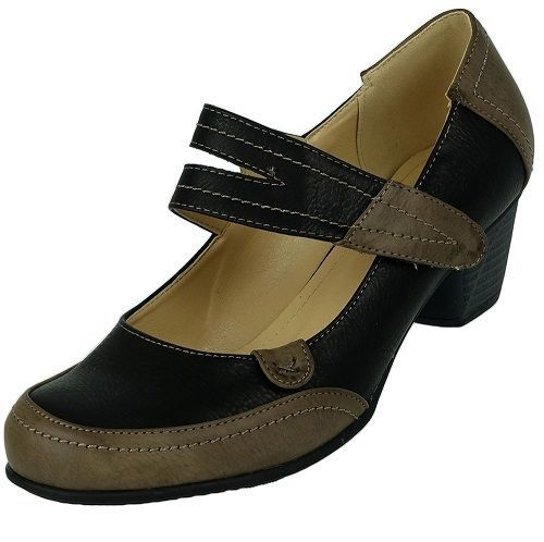 WOMENS LADIES OFFICE LOW MID CUBAN HEEL GREY/BLACK MARY JANES SHOES SIZE 3-7.5
