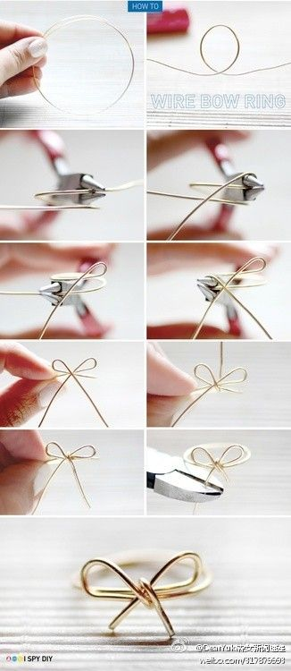 DIY bow ring ~ ~ ~ A lot of big names have a bow out of this simple design, not too cute ~ This hand wire in the craft materials market have had to sell yo, very cheap ~ ~ ~ ~ own DIY bargain
